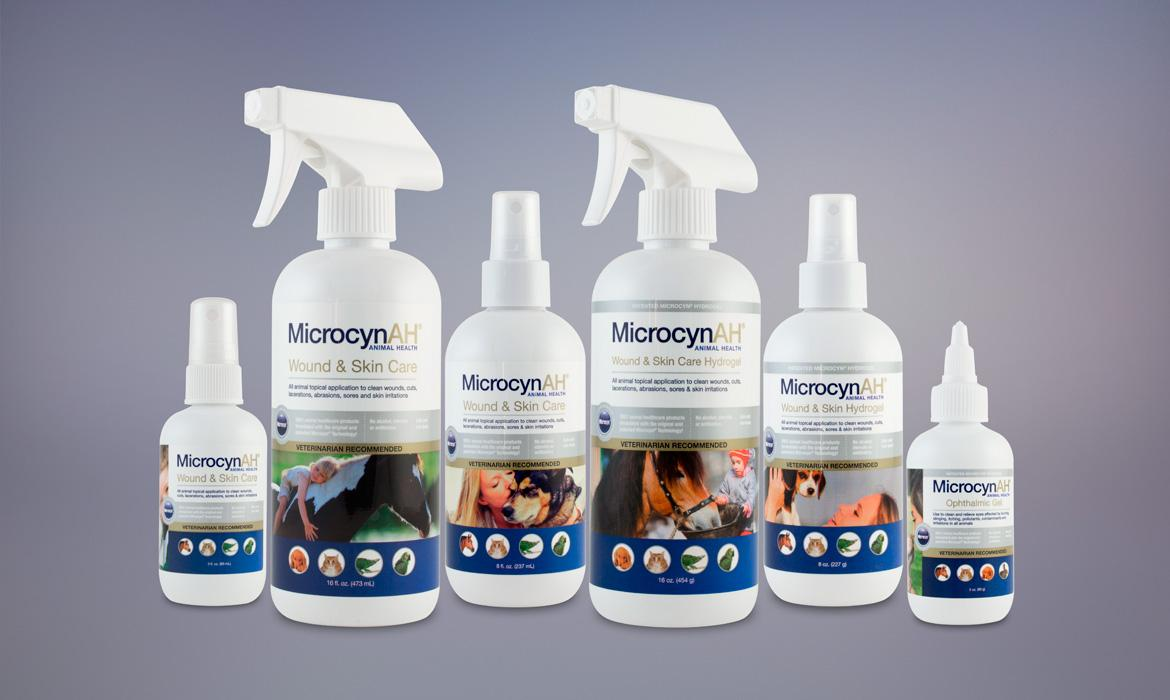 MicrocynAH Product Labels and Packaging