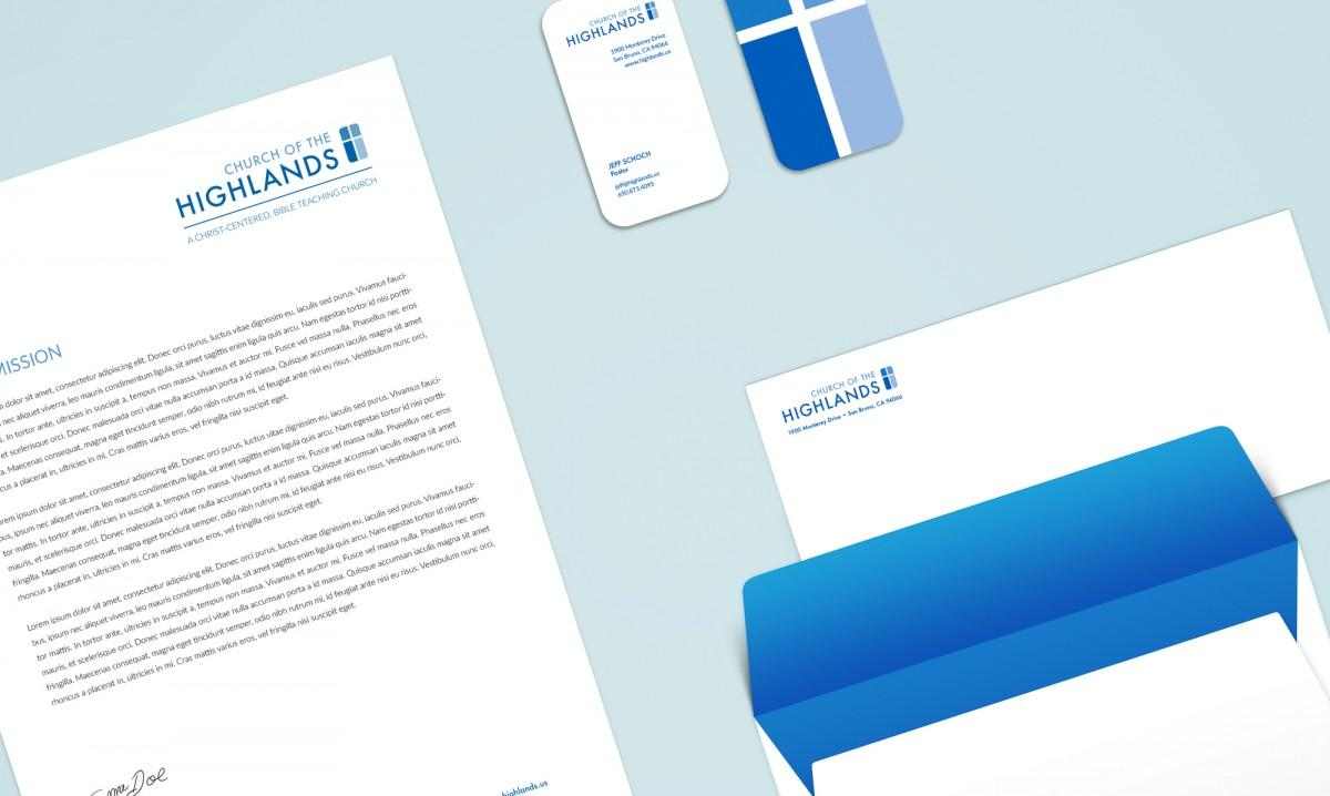 Church of the Highlands Stationary Letterhead and Business Cards