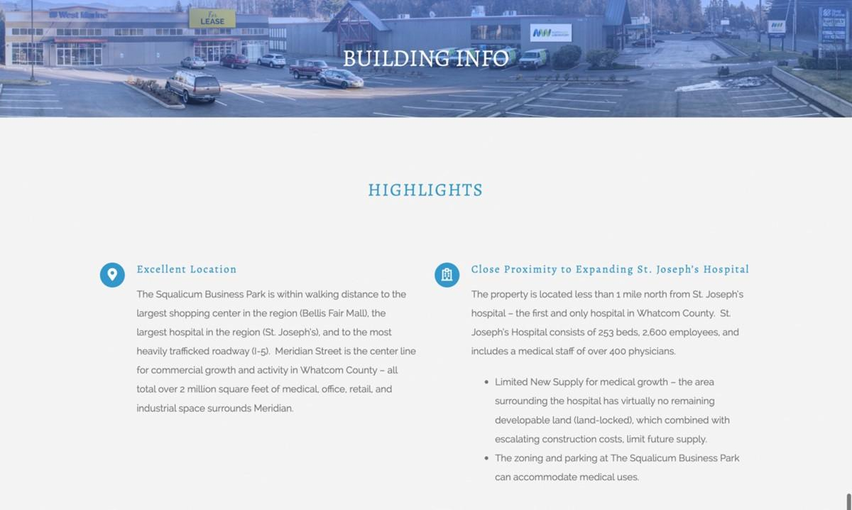 squalicum business park commercial real estate website design