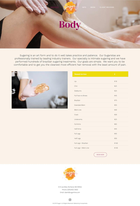 sugar it web design body page