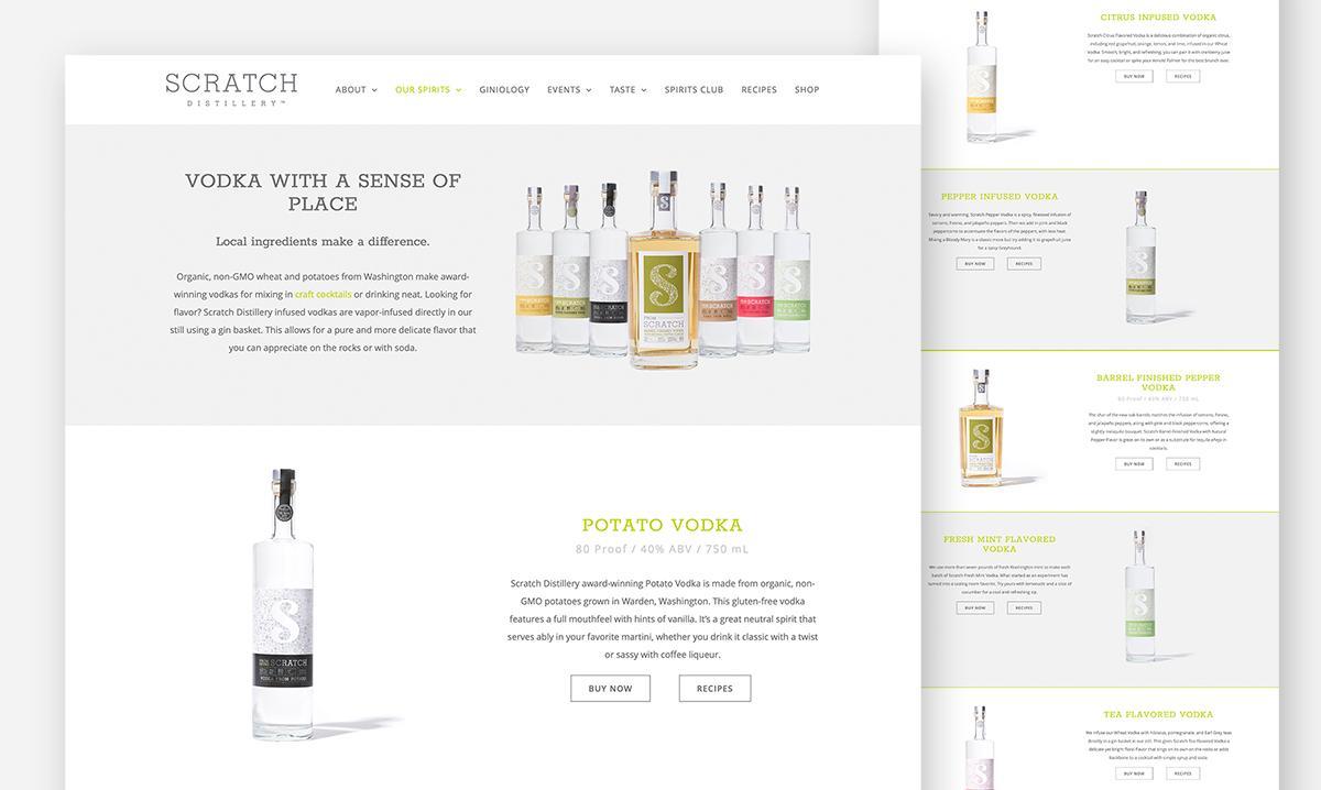 Scratch Distillery Website Design vodka