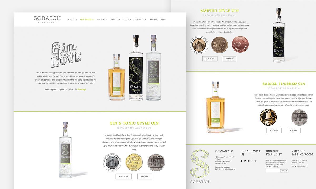 Scratch Distillery Website Design gin