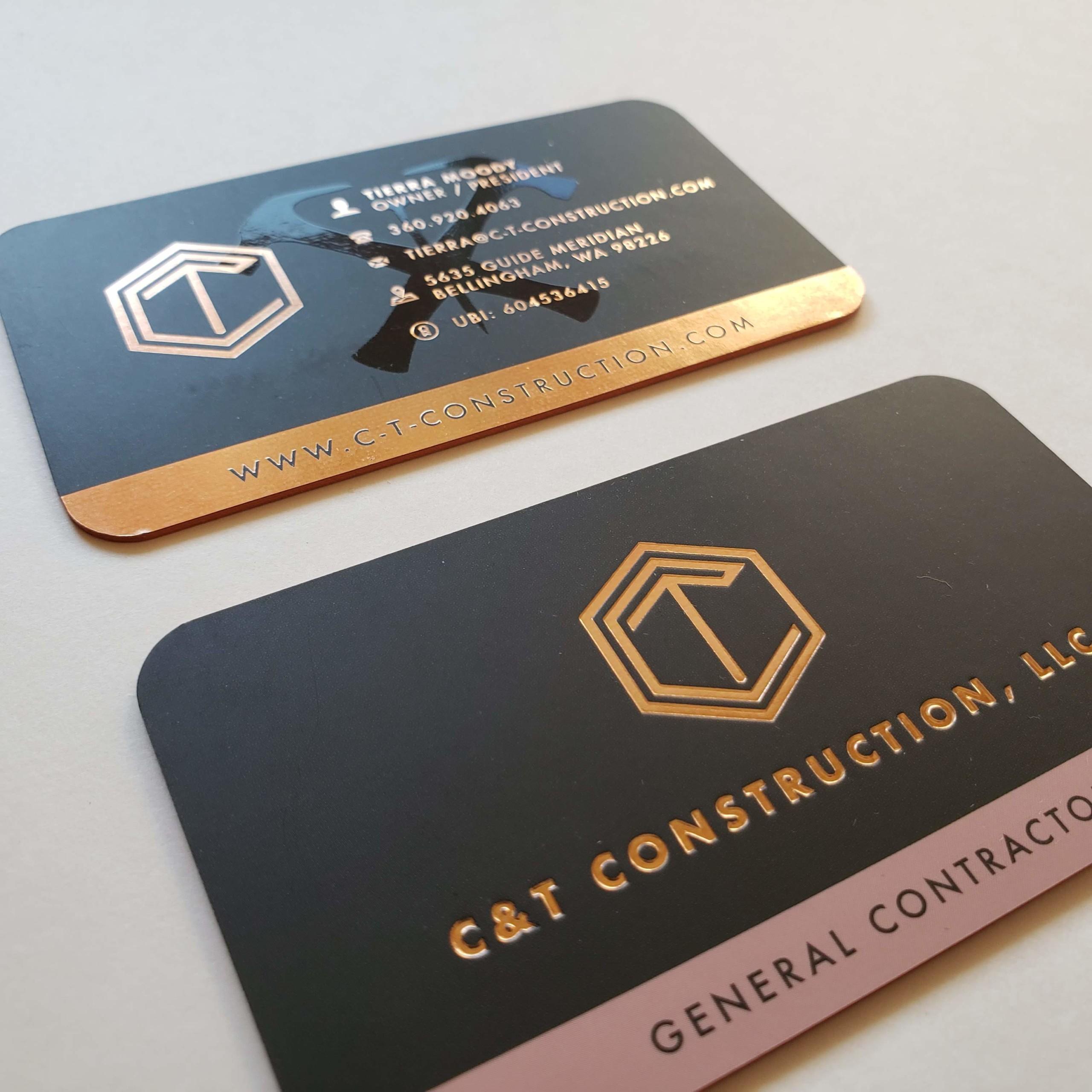 C&T Construction Gold Foil Business Cards