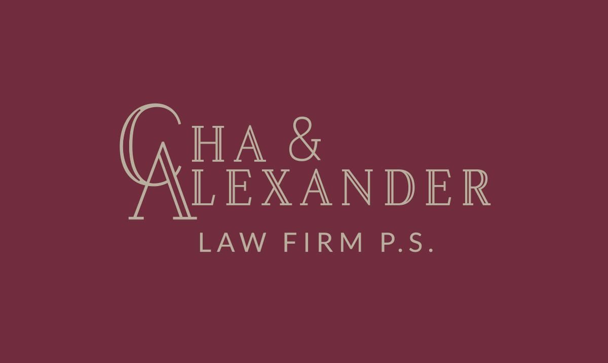 Cha & Alexander logo maroon background