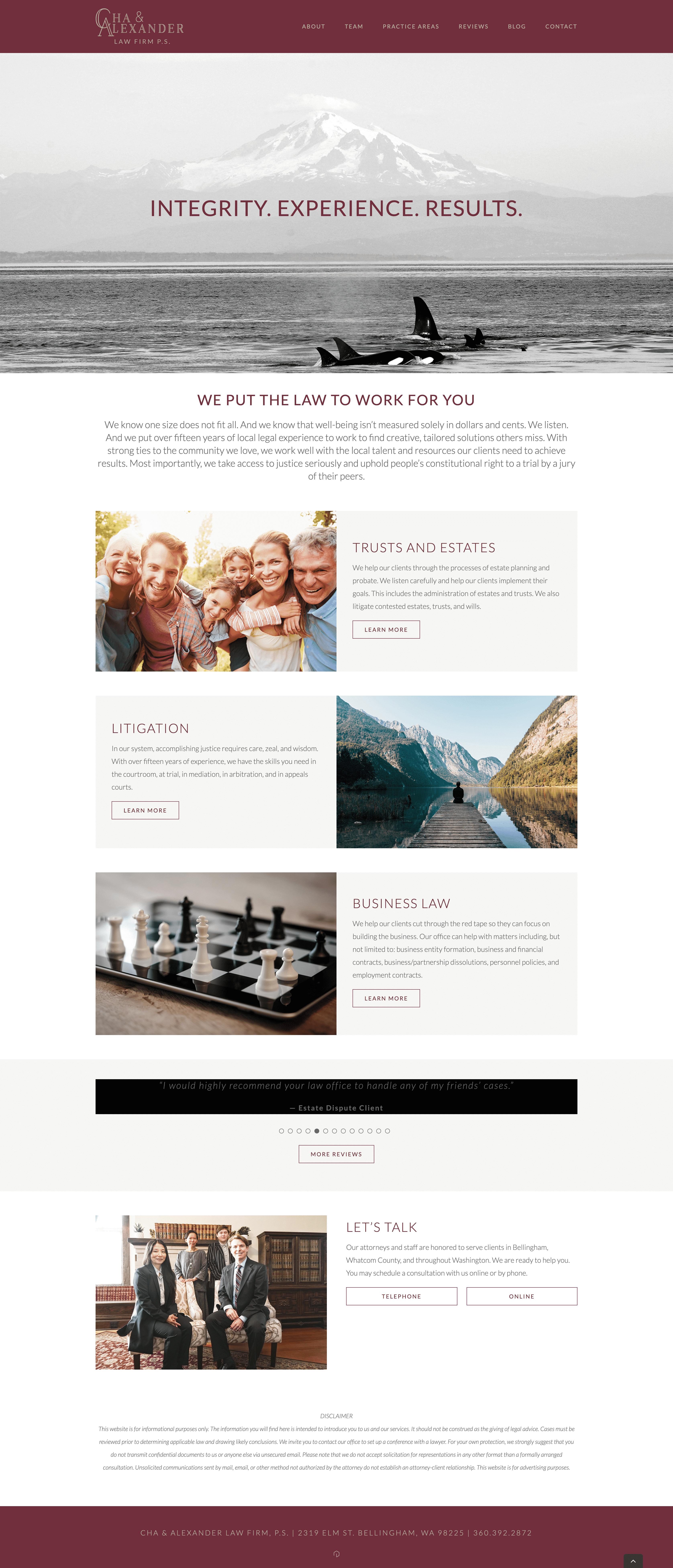Cha & Alexander Home Page Design